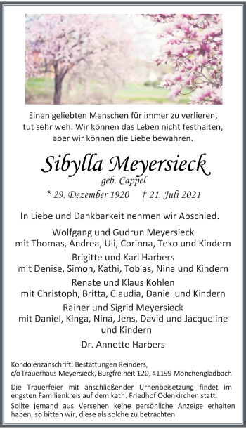 Traueranzeige von Sibylla Meyersieck von Rheinische Post