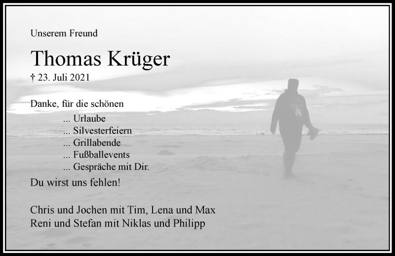 Traueranzeige für Thomas Krüger vom 28.07.2021 aus Rheinische Post