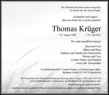 Traueranzeige von Thomas Krüger von Rheinische Post