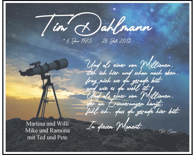 Traueranzeige für Tim Dahlmann vom 24.07.2021 aus Rheinische Post