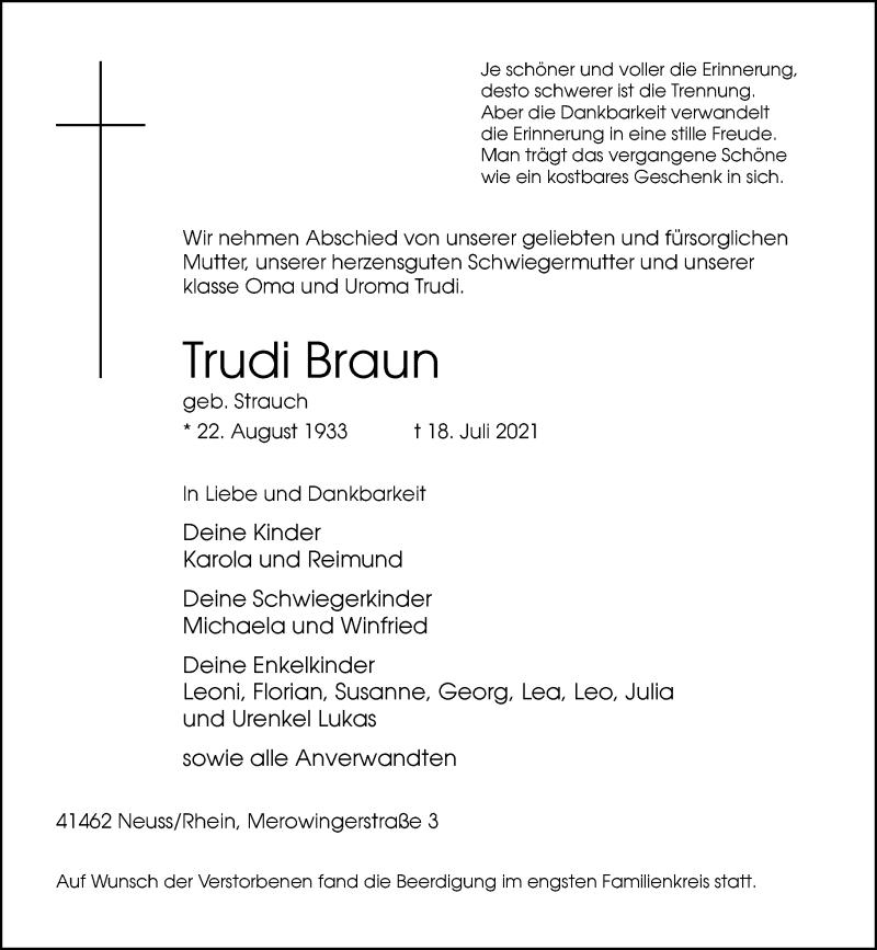 Traueranzeige für Trudi Braun vom 24.07.2021 aus Rheinische Post