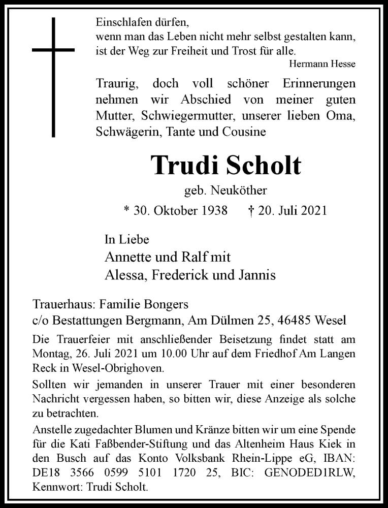 Traueranzeige für Trudi Scholt vom 24.07.2021 aus Rheinische Post