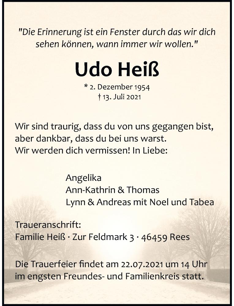 Traueranzeige für Udo Heiß vom 17.07.2021 aus Rheinische Post