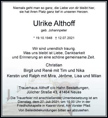 Traueranzeige von Ulrike Althoff von Rheinische Post