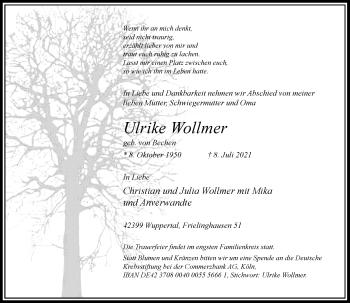 Traueranzeige von Ulrike Wollmer von Rheinische Post