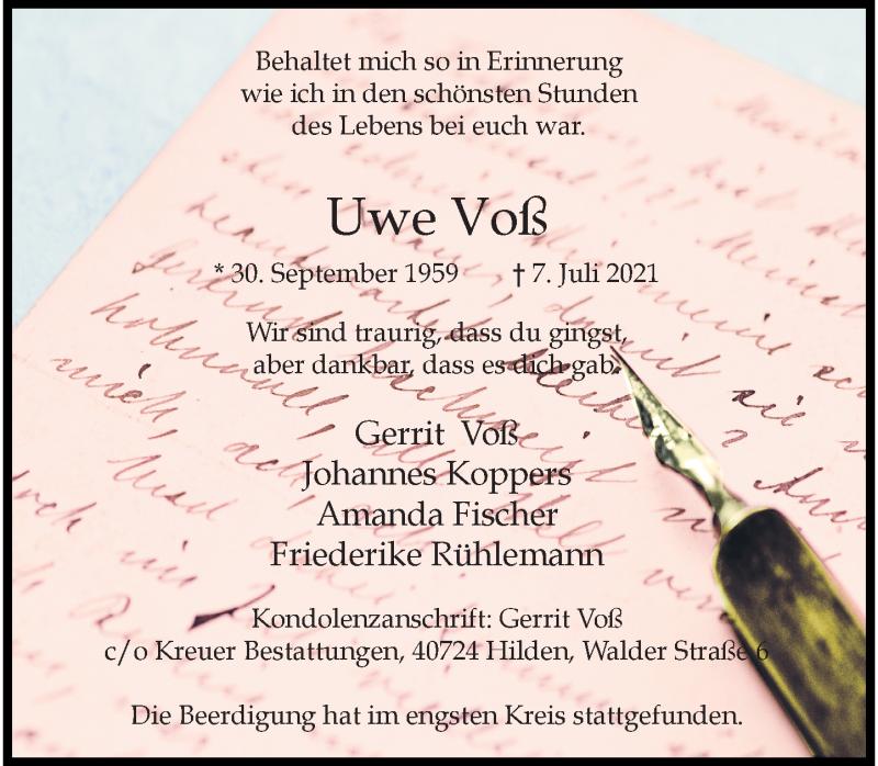 Traueranzeige für Uwe Voß vom 17.07.2021 aus Rheinische Post