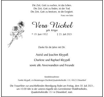 Traueranzeige von Vera Nickel von Rheinische Post