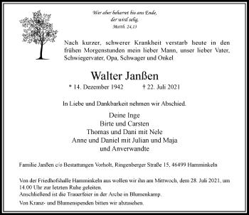 Traueranzeige von Walter Janßen von Rheinische Post