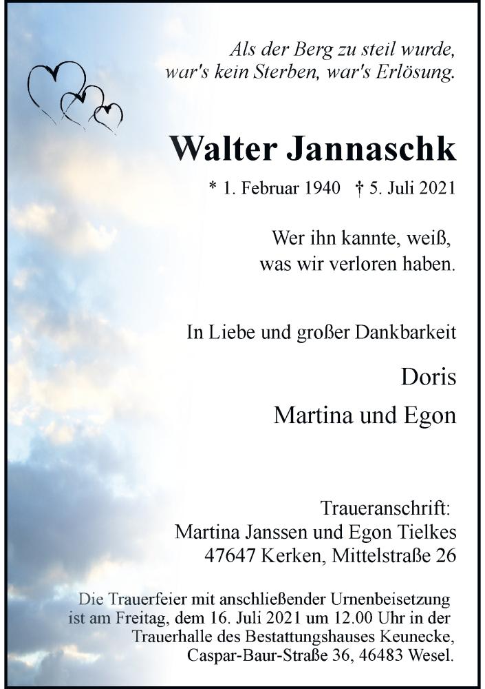 Traueranzeige für Walter Jannaschk vom 10.07.2021 aus Rheinische Post