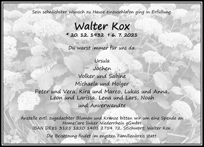 Traueranzeige für Walter Kox vom 10.07.2021 aus Rheinische Post