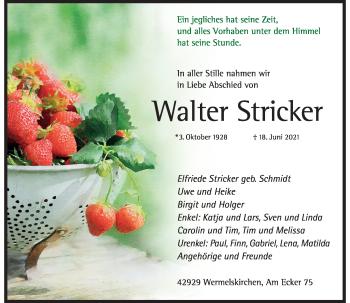 Traueranzeige von Walter Stricker von Rheinische Post