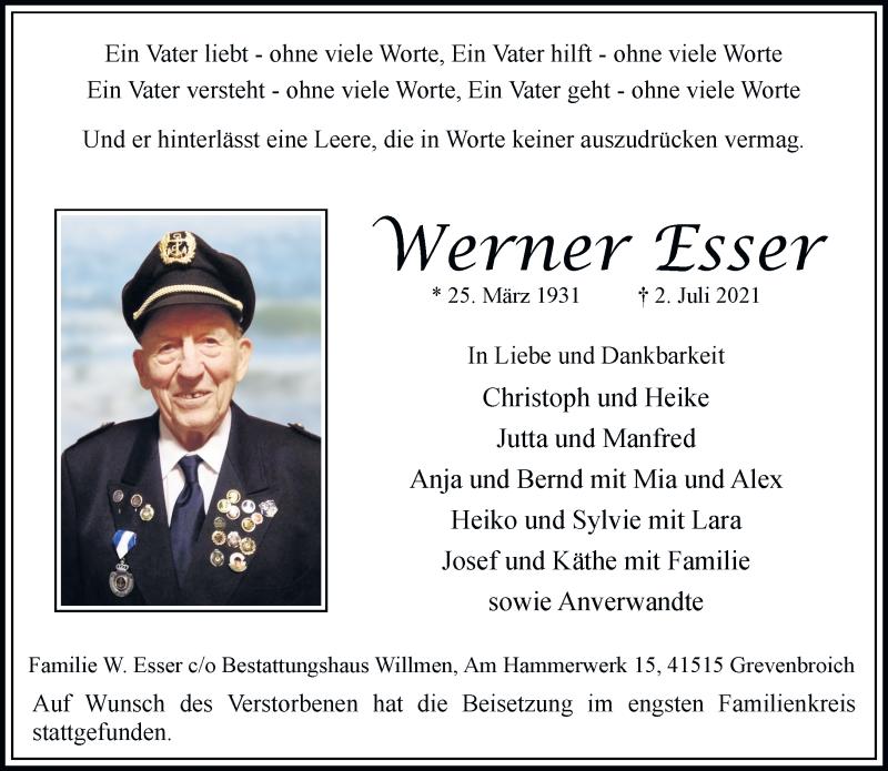Traueranzeige für Werner Esser vom 17.07.2021 aus Rheinische Post