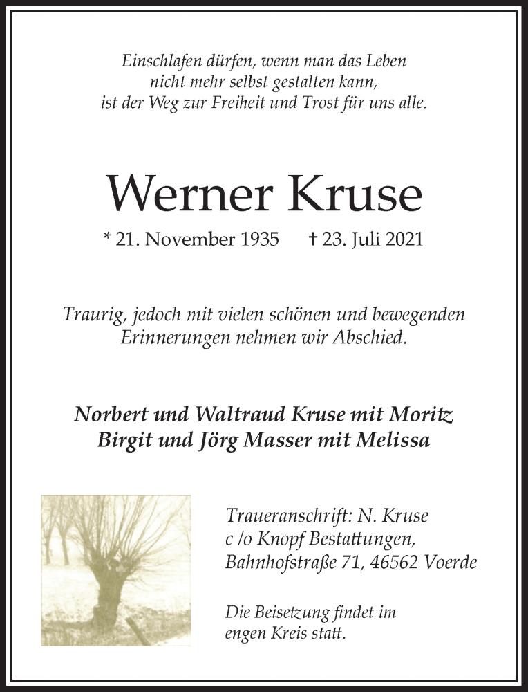 Traueranzeige für Werner Kruse vom 28.07.2021 aus Rheinische Post