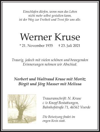 Traueranzeige von Werner Kruse von Rheinische Post