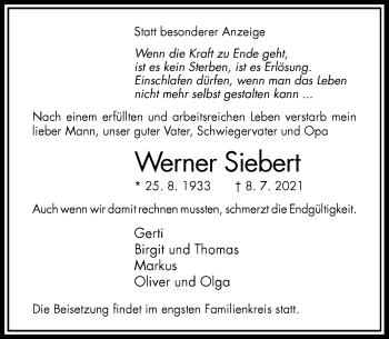 Traueranzeige von Werner Siebert von Rheinische Post