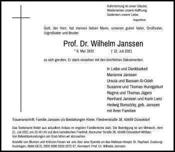Traueranzeige von Wilhelm Janssen von Rheinische Post