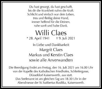 Traueranzeige von Willi Claes von Rheinische Post