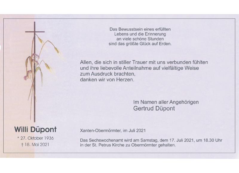 Traueranzeige für Willi Düpent vom 10.07.2021 aus Rheinische Post