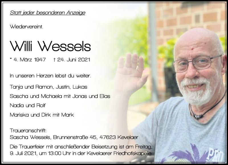 Traueranzeige für Willi Wessels vom 03.07.2021 aus Rheinische Post