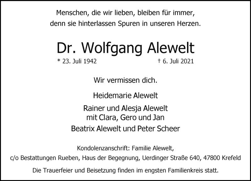 Traueranzeige für Wolfgang Alewelt vom 17.07.2021 aus Rheinische Post