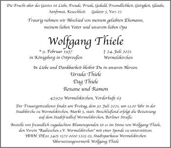 Traueranzeige von Wolfgang Thiele von Rheinische Post