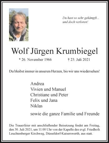 Traueranzeige von Wolf Jürgen Krumbiegel von Rheinische Post