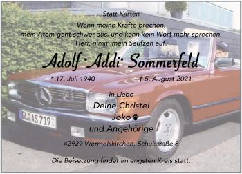 Traueranzeige von Adolf Sommerfeld von Rheinische Post