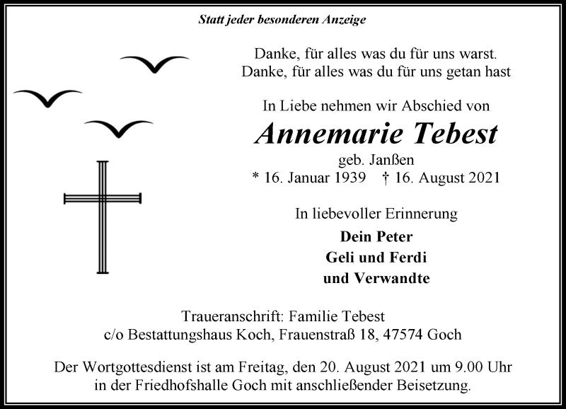 Traueranzeige für Annemarie Tebest vom 19.08.2021 aus Rheinische Post