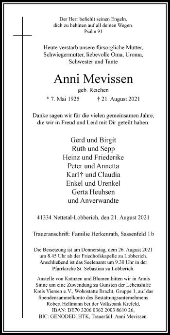 Traueranzeige von Anni Mevissen von Rheinische Post