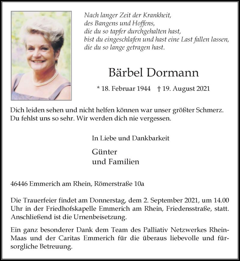 Traueranzeige für Bärbel Dormann vom 27.08.2021 aus Rheinische Post