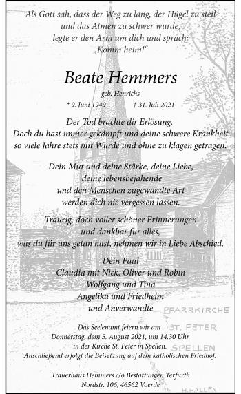 Traueranzeige von Beate Hemmers von Rheinische Post