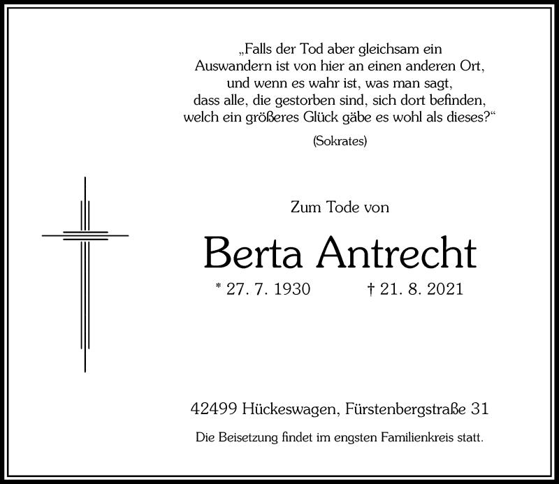 Traueranzeige für Berta Antrecht vom 28.08.2021 aus Rheinische Post
