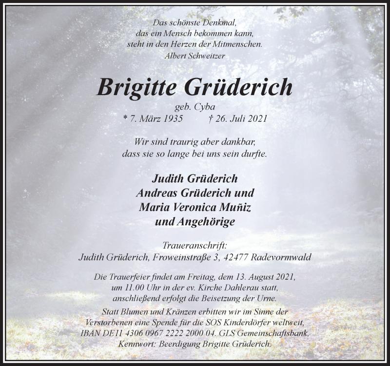 Traueranzeige für Brigitte Grüderich vom 07.08.2021 aus Rheinische Post