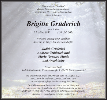 Traueranzeige von Brigitte Grüderich von Rheinische Post