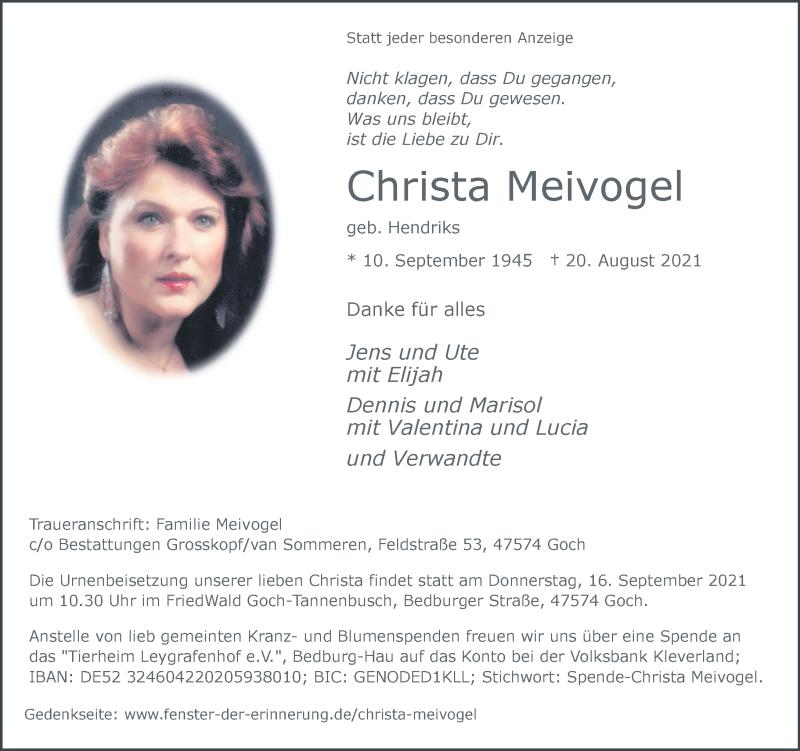 Traueranzeige für Christa Meivogel vom 28.08.2021 aus Rheinische Post