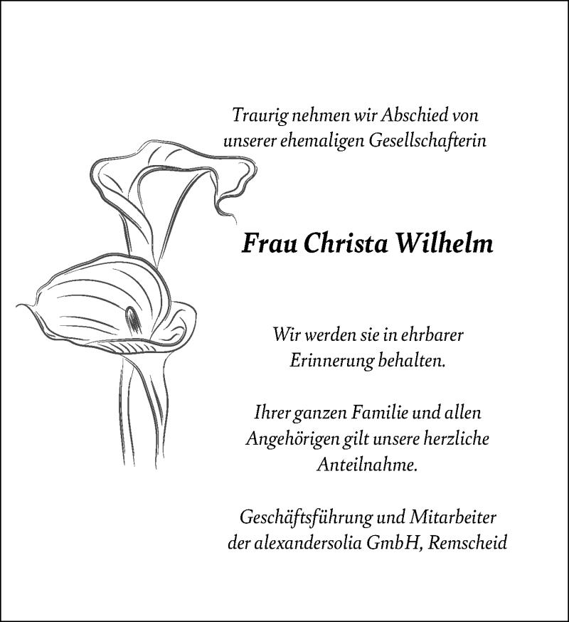 Traueranzeige für Christa Wilhelm vom 21.08.2021 aus Rheinische Post