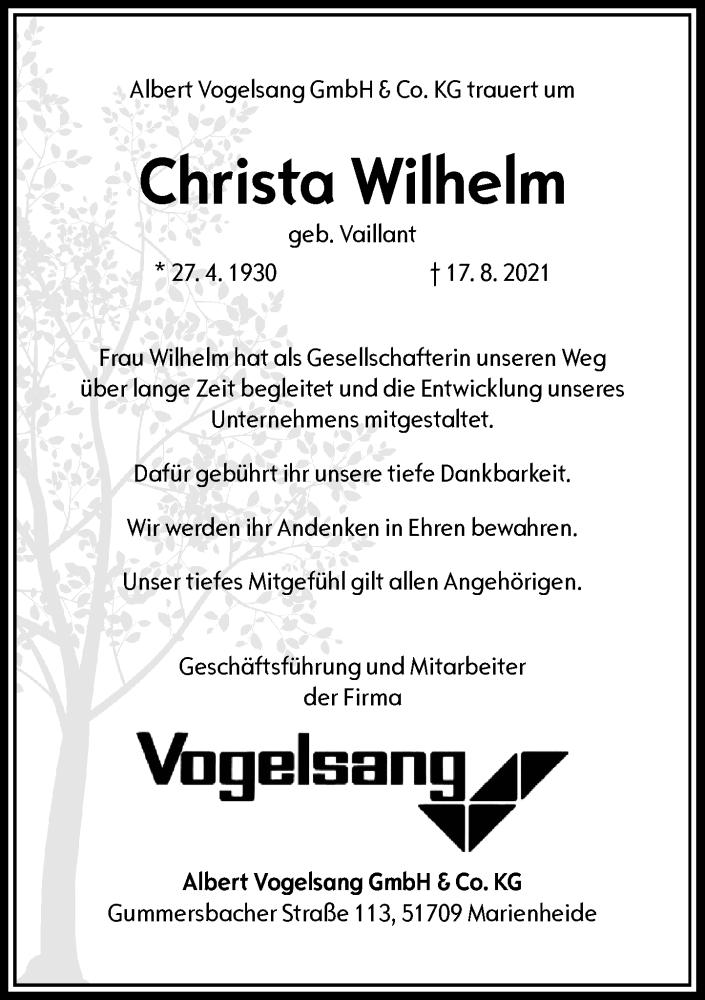 Traueranzeige für Christa Wilhelm vom 28.08.2021 aus Rheinische Post