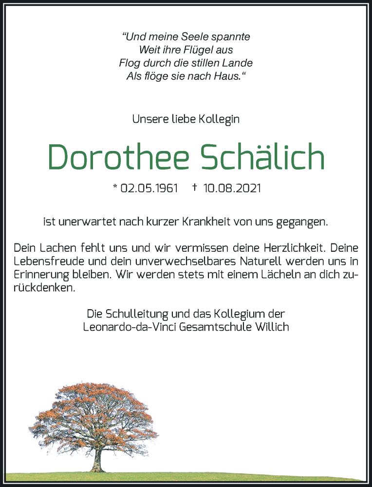 Traueranzeige für Dorothee Schälich vom 21.08.2021 aus Rheinische Post