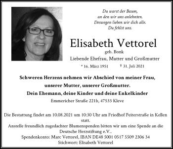 Traueranzeige von Elisabeth Vettorel von Rheinische Post