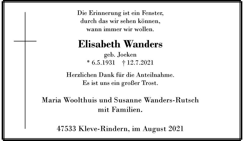 Traueranzeige für Elisabeth Wanders vom 28.08.2021 aus Rheinische Post