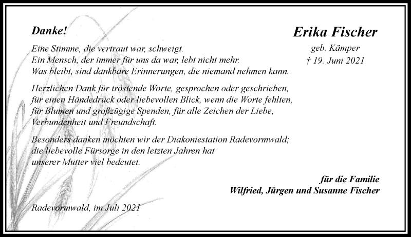 Traueranzeige für Erika Fischer vom 07.08.2021 aus Rheinische Post
