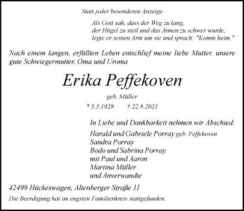 Traueranzeige von Erika Peffekoven von Rheinische Post