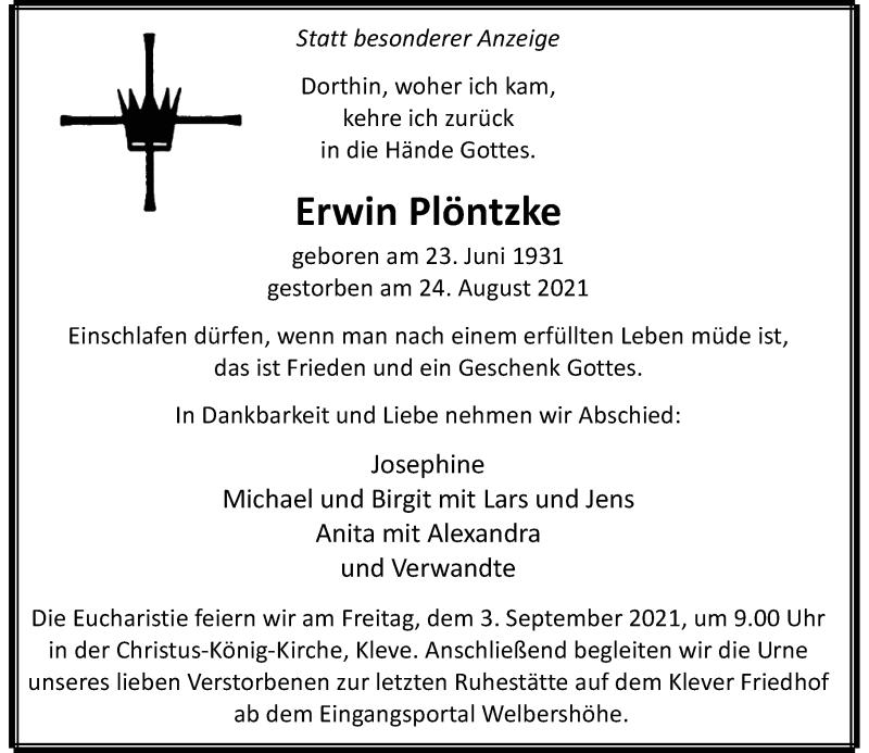 Traueranzeige für Erwin Plöntzke vom 28.08.2021 aus Rheinische Post