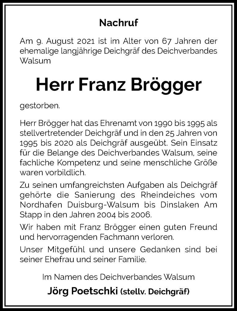 Traueranzeige für Franz Brögger vom 21.08.2021 aus Rheinische Post
