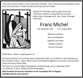 Traueranzeige von Franz Michel von Rheinische Post