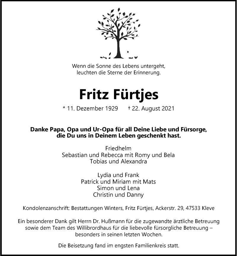 Traueranzeige für Fritz Fürtjes vom 02.09.2021 aus Rheinische Post