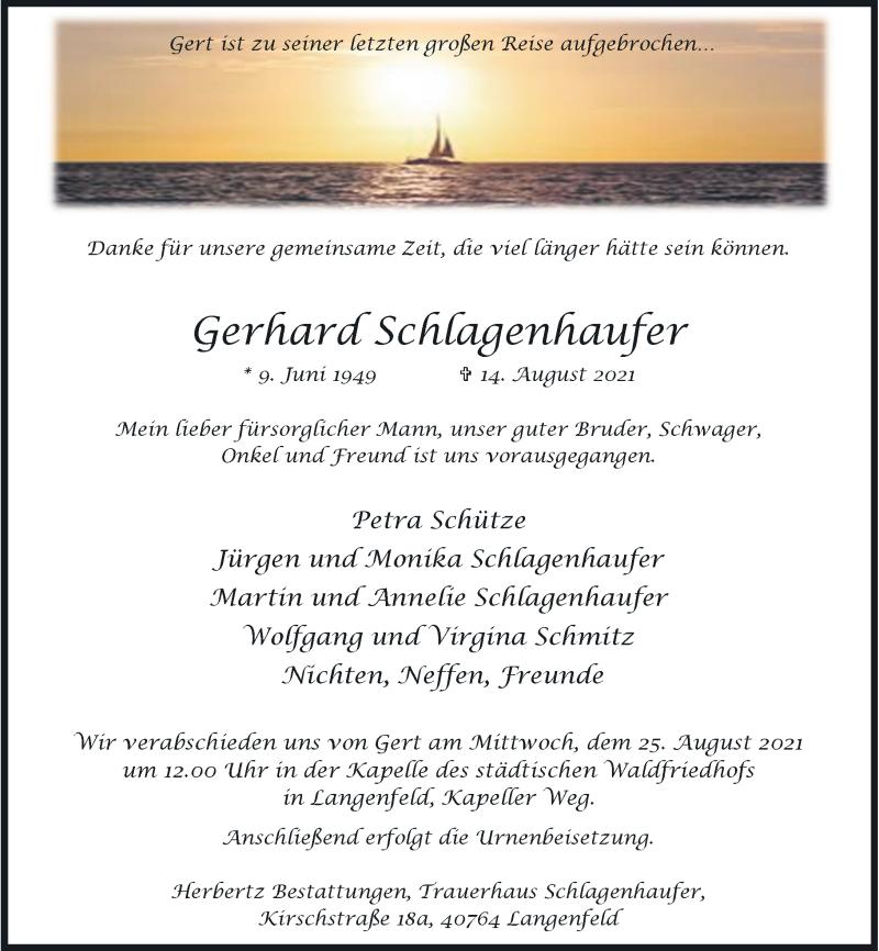Traueranzeige für Gerhard Schlagenhaufer vom 21.08.2021 aus Rheinische Post