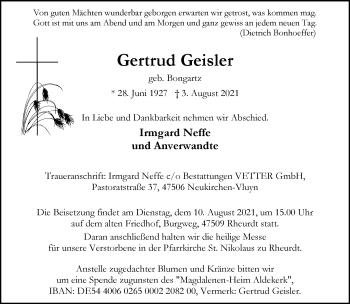Traueranzeige von Gertrud Geisler von Rheinische Post
