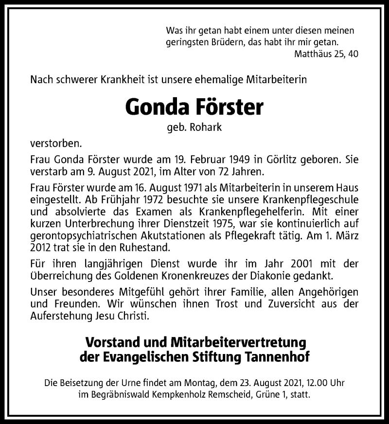 Traueranzeige für Gonda Förster vom 18.08.2021 aus Rheinische Post