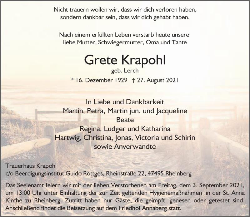 Traueranzeige für Grete Krapohl vom 31.08.2021 aus Rheinische Post